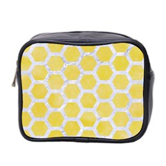 Hexagon2 White Marble & Yellow Watercolor Mini Toiletries Bag 2 Side by trendistuff