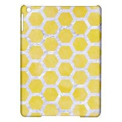 Hexagon2 White Marble & Yellow Watercolor Ipad Air Hardshell Cases by trendistuff
