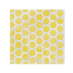 Hexagon2 White Marble & Yellow Watercolor Small Satin Scarf (square) by trendistuff