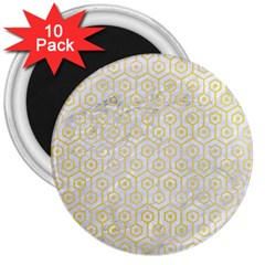 Hexagon1 White Marble & Yellow Watercolor (r) 3  Magnets (10 Pack)  by trendistuff