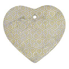 Hexagon1 White Marble & Yellow Watercolor (r) Heart Ornament (two Sides) by trendistuff