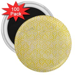Hexagon1 White Marble & Yellow Watercolor 3  Magnets (100 Pack) by trendistuff
