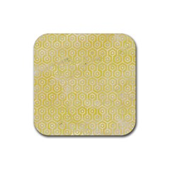 Hexagon1 White Marble & Yellow Watercolor Rubber Coaster (square)  by trendistuff