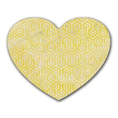 Hexagon1 White Marble & Yellow Watercolor Heart Mousepads by trendistuff