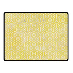Hexagon1 White Marble & Yellow Watercolor Double Sided Fleece Blanket (small)  by trendistuff