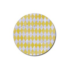 Diamond1 White Marble & Yellow Watercolor Rubber Coaster (round)  by trendistuff