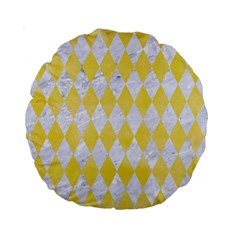 Diamond1 White Marble & Yellow Watercolor Standard 15  Premium Round Cushions by trendistuff