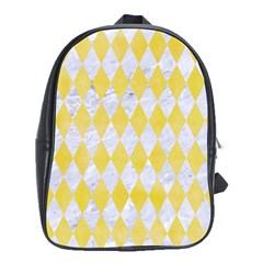 Diamond1 White Marble & Yellow Watercolor School Bag (xl) by trendistuff