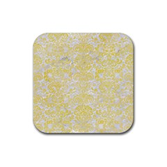 Damask2 White Marble & Yellow Watercolor (r) Rubber Square Coaster (4 Pack)