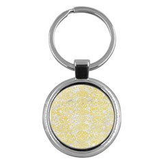 Damask2 White Marble & Yellow Watercolor (r) Key Chains (round)  by trendistuff
