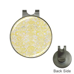 Damask2 White Marble & Yellow Watercolor (r) Hat Clips With Golf Markers by trendistuff