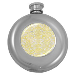 Damask2 White Marble & Yellow Watercolor (r) Round Hip Flask (5 Oz) by trendistuff