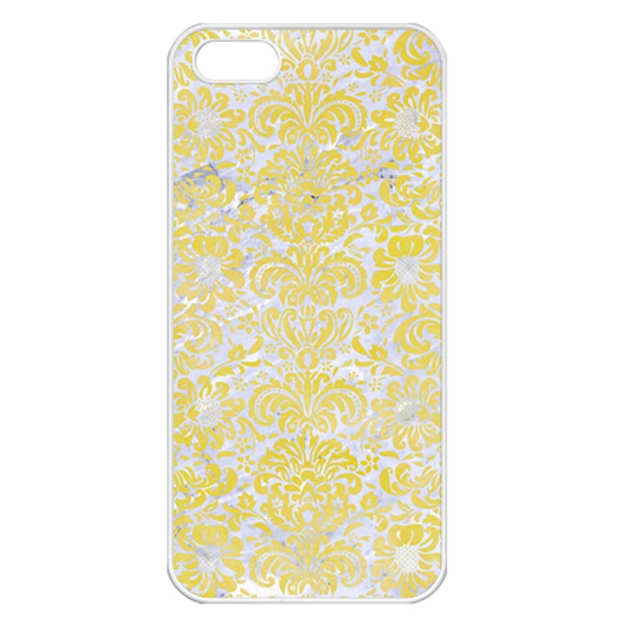 DAMASK2 WHITE MARBLE & YELLOW WATERCOLOR (R) Apple iPhone 5 Seamless Case (White)