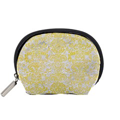 Damask2 White Marble & Yellow Watercolor (r) Accessory Pouches (small)