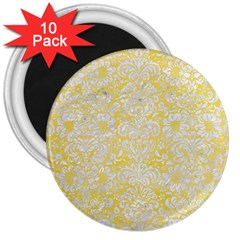 Damask2 White Marble & Yellow Watercolor 3  Magnets (10 Pack)  by trendistuff