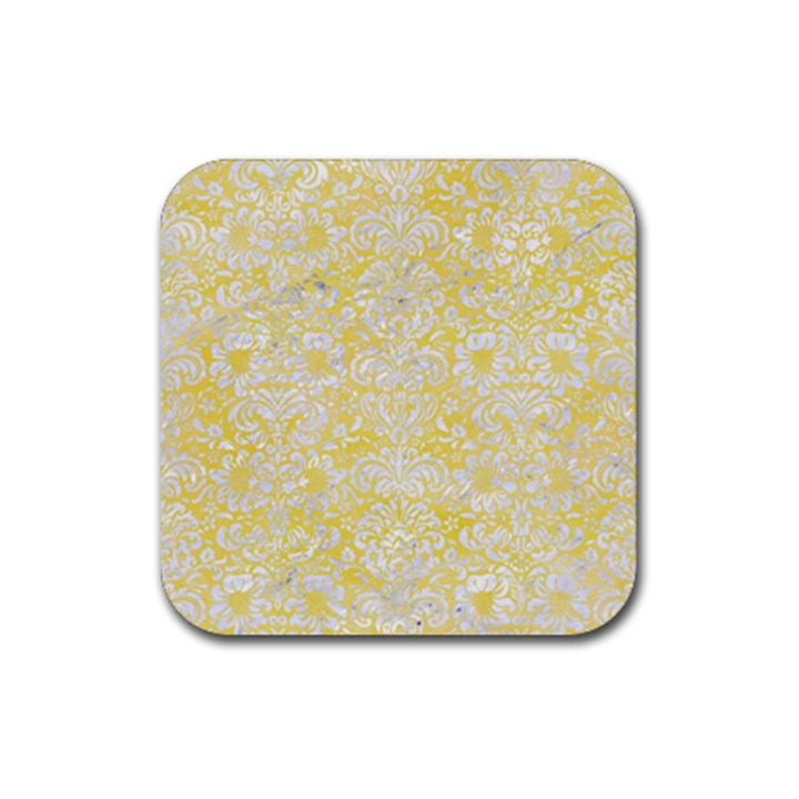 DAMASK2 WHITE MARBLE & YELLOW WATERCOLOR Rubber Square Coaster (4 pack)