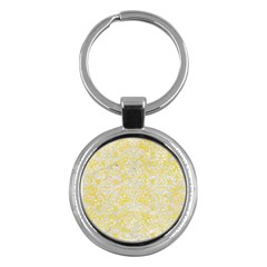 Damask2 White Marble & Yellow Watercolor Key Chains (round)  by trendistuff