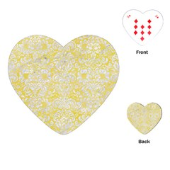 Damask2 White Marble & Yellow Watercolor Playing Cards (heart)  by trendistuff