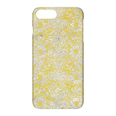 Damask2 White Marble & Yellow Watercolor Apple Iphone 8 Plus Hardshell Case by trendistuff