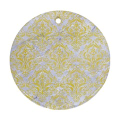 Damask1 White Marble & Yellow Watercolor (r) Round Ornament (two Sides) by trendistuff
