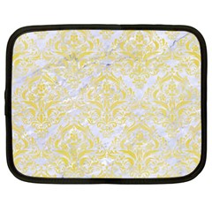 Damask1 White Marble & Yellow Watercolor (r) Netbook Case (xxl)  by trendistuff