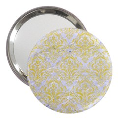Damask1 White Marble & Yellow Watercolor (r) 3  Handbag Mirrors by trendistuff