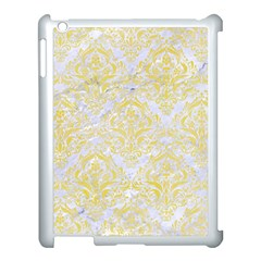 Damask1 White Marble & Yellow Watercolor (r) Apple Ipad 3/4 Case (white) by trendistuff