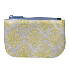 Damask1 White Marble & Yellow Watercolor (r) Large Coin Purse by trendistuff