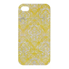Damask1 White Marble & Yellow Watercolor Apple Iphone 4/4s Premium Hardshell Case by trendistuff