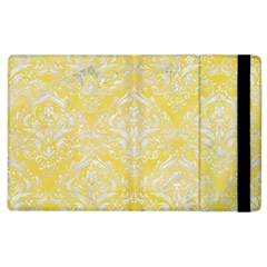 Damask1 White Marble & Yellow Watercolor Apple Ipad 2 Flip Case by trendistuff