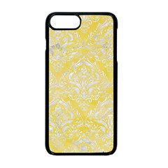 Damask1 White Marble & Yellow Watercolor Apple Iphone 8 Plus Seamless Case (black) by trendistuff