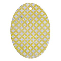 Circles3 White Marble & Yellow Watercolor (r) Oval Ornament (two Sides)