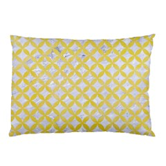 Circles3 White Marble & Yellow Watercolor (r) Pillow Case by trendistuff