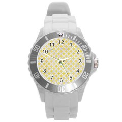 Circles3 White Marble & Yellow Watercolor Round Plastic Sport Watch (l) by trendistuff