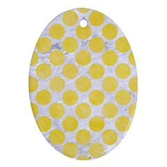 Circles2 White Marble & Yellow Watercolor (r) Oval Ornament (two Sides) by trendistuff