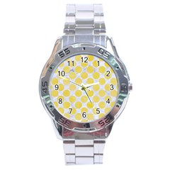 Circles2 White Marble & Yellow Watercolor (r) Stainless Steel Analogue Watch by trendistuff