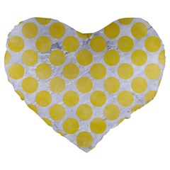 Circles2 White Marble & Yellow Watercolor (r) Large 19  Premium Flano Heart Shape Cushions by trendistuff