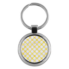 Circles2 White Marble & Yellow Watercolor Key Chains (round)  by trendistuff