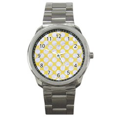 Circles2 White Marble & Yellow Watercolor Sport Metal Watch by trendistuff