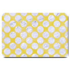 Circles2 White Marble & Yellow Watercolor Large Doormat