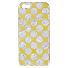 Circles2 White Marble & Yellow Watercolor Apple Iphone 5 Hardshell Case by trendistuff