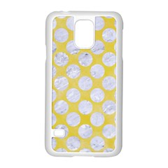 Circles2 White Marble & Yellow Watercolor Samsung Galaxy S5 Case (white) by trendistuff
