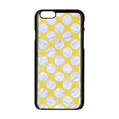Circles2 White Marble & Yellow Watercolor Apple Iphone 6/6s Black Enamel Case by trendistuff