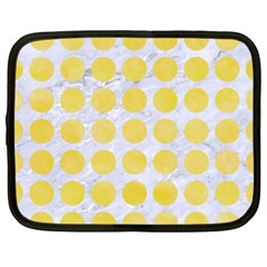 Circles1 White Marble & Yellow Watercolor (r) Netbook Case (xxl)