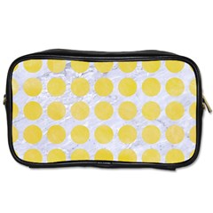 Circles1 White Marble & Yellow Watercolor (r) Toiletries Bags 2 Side by trendistuff