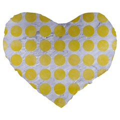 Circles1 White Marble & Yellow Watercolor (r) Large 19  Premium Flano Heart Shape Cushions