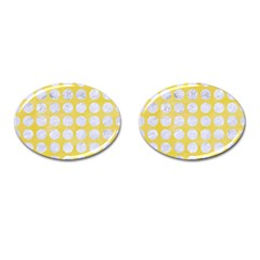Circles1 White Marble & Yellow Watercolor Cufflinks (oval) by trendistuff