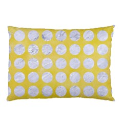 Circles1 White Marble & Yellow Watercolor Pillow Case