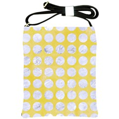 Circles1 White Marble & Yellow Watercolor Shoulder Sling Bags by trendistuff