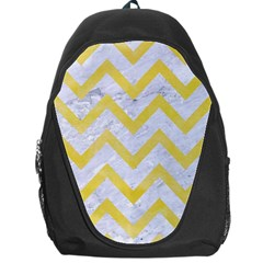 Chevron9 White Marble & Yellow Watercolor (r) Backpack Bag by trendistuff